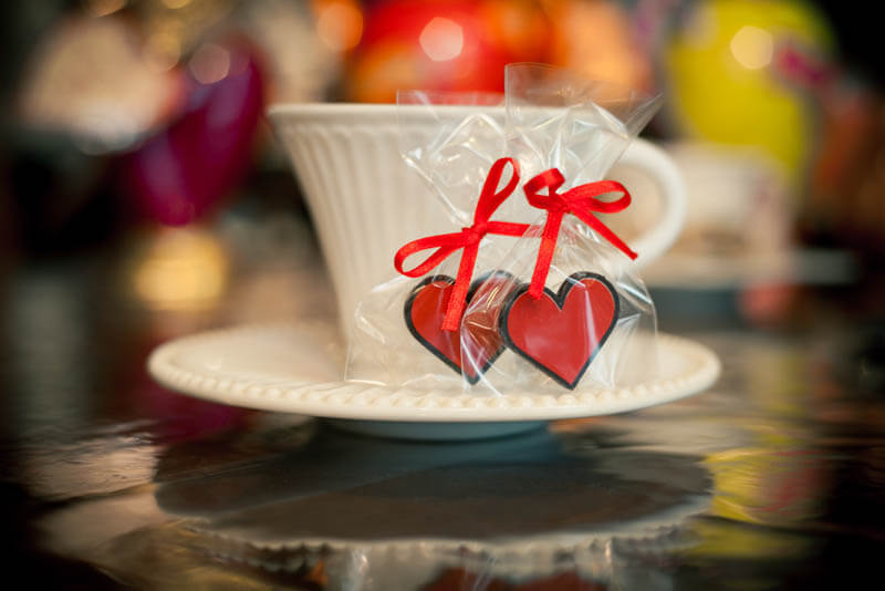 Coffee Chocolates - Chocolate Heart in a Bag with Ribbon, 3g