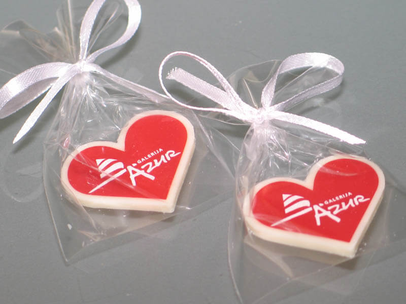 Printing On Chocolate - Chocolate Heart in a Bag with Ribbon, 3g