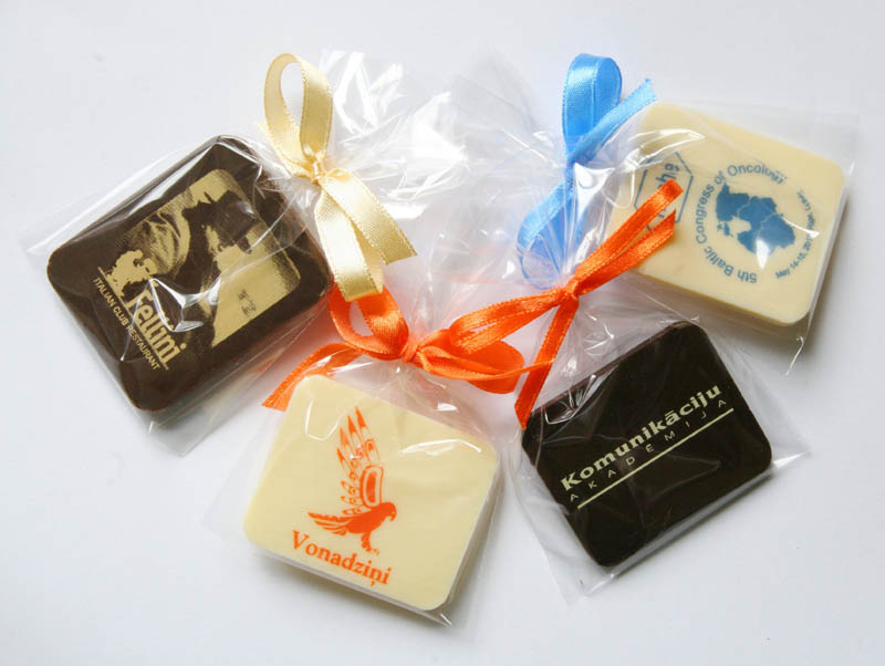 Personalised Chocolate Bars - Promotional Chocolate Bar in a Polybag with Ribbon, 7g
